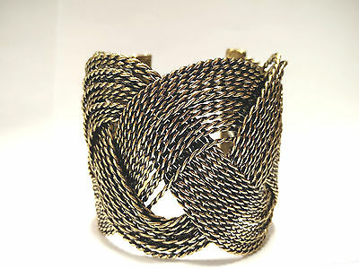 - Sailor Knot Turks Head Twisted Wire Wide Cuff Bracelet Silver & Antique Gold