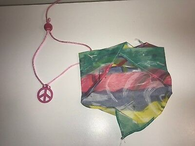 Dog Hippie Costume Bandana And Peace Necklace - Dog Hippie Costume