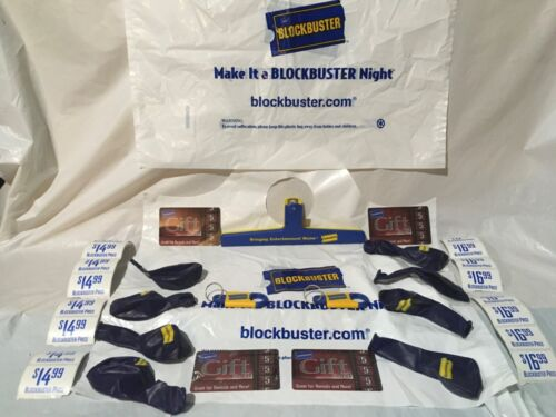 Vintage BLOCKBUSTER VIDEO clips balloons,keychains ,GREAT WHITE ELEPHANT GIFTs