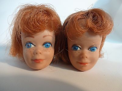 2 Vintage 1963 Red Titian MIDGE doll heads #860