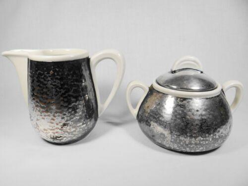 Vintage WMF Bauhaus Silver Plated Porcelain Cream & Sugar Set