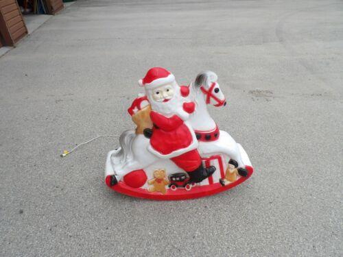 RARE Vintage Union Santa on Rocking Horse Christmas Blow Mold Yard Decor 3
