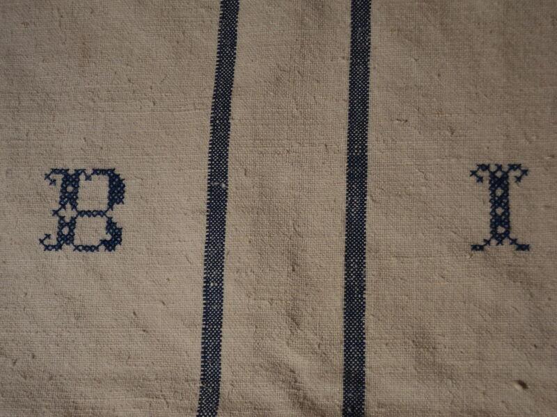Antique European Feed Sack GRAIN SACK BI Monogram #3769