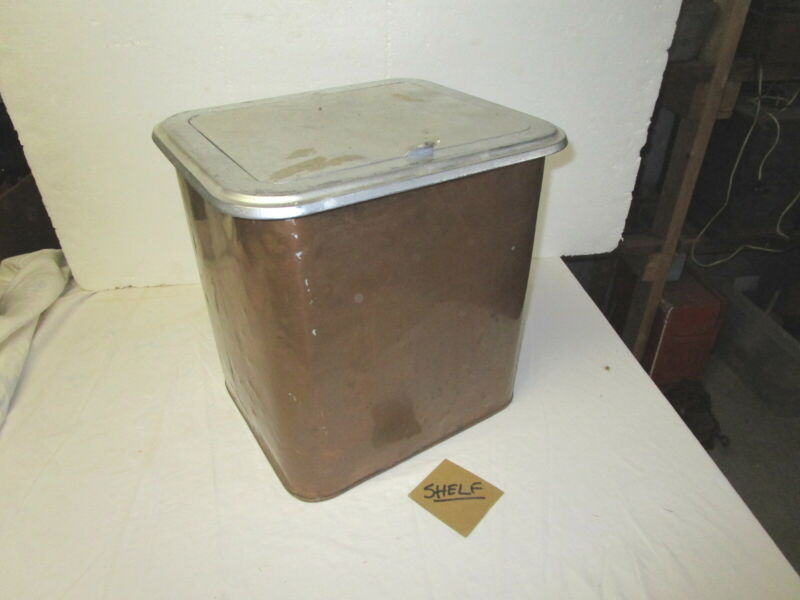Antique vintage square copper & cast iron ash coal storage bucket