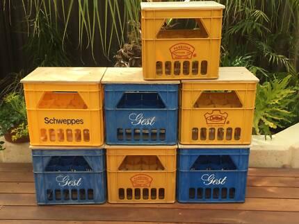 Retro drink crate stools