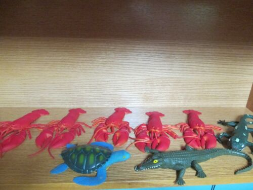 8 Vintage Imperial Rubbery Rubber Toy Animals (5) Lobsters (1) Lizard (1) Alliga