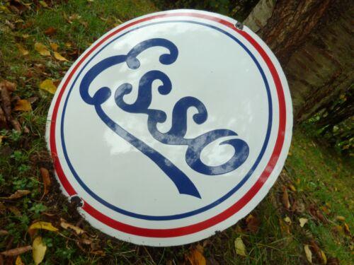 """ESSO logo porcelain sign 20"""" vintage gasoline tank oil drop pump old gas man"""