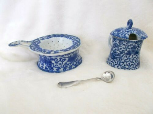 VINTAGE PHOENIX BIRD FLYING TURKEY  RARE MUSTARD POT & SPOON  PLUS A STRAINER