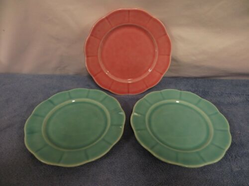 "3 Vintage W.S. George Petalware 6.50"" Bread Plates - Pink & Light Green"