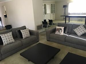 Charcoal Grey Fabric Duel Sofa Set Mona Vale Pittwater Area Preview