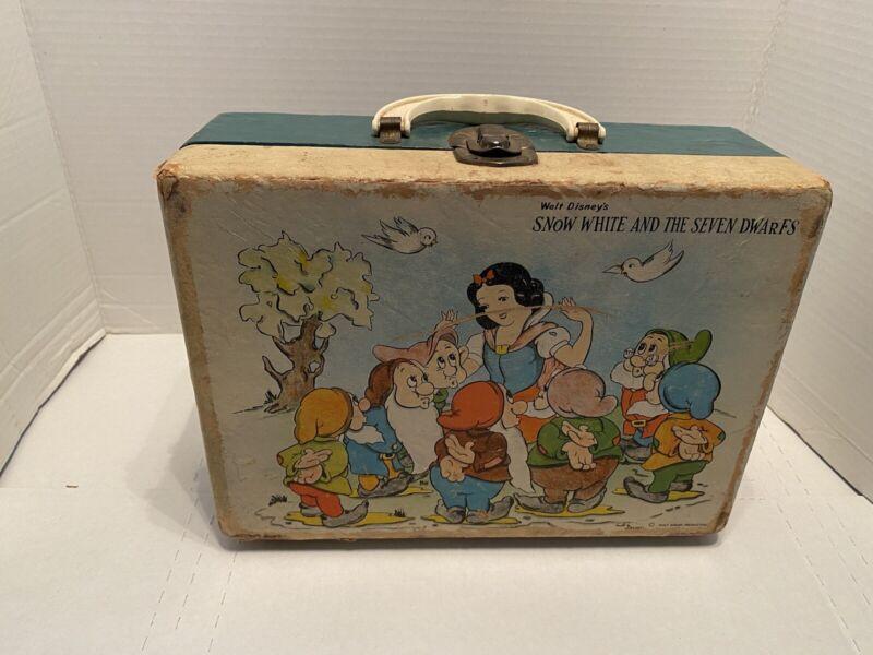 Vintage 1960's Walt Disney Productions Snow White Seven Dwarfs Suitcase Box Rare