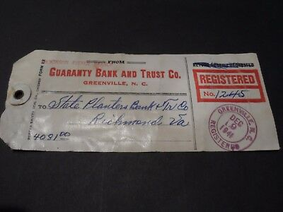1941 Registered Mail Bank Tag Greenville Nc Richmond Va 815 820 4  832 2  901 4