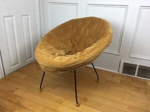1960s IRON Corduroy HOOP Chair VINTAGE Wicker RETRO MCM