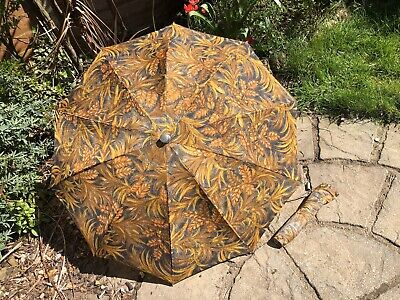 Vintage Knirps Style Double Folding Umbrella With Cover Floral Leaf Prop