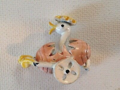 Vintage Beatrix Jewelry Co Pastel Enamel Easter Chick in Egg Car Pin