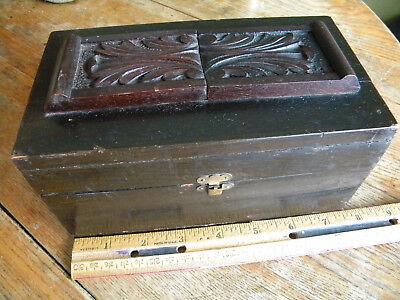 Antique? Wood trinket box Applied Carved decoration