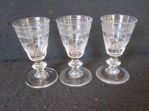 SET OF 3 ANTIQUE GEORGIAN REGENCY ANGLO IRISH CUT ETCHED RUMMERS WINE GLASSES