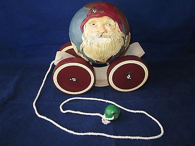 BRIERE Folk Art Pull Toy 1989 Old Fashioned Santa Ball & Cart / Cradle #216 ~EXC