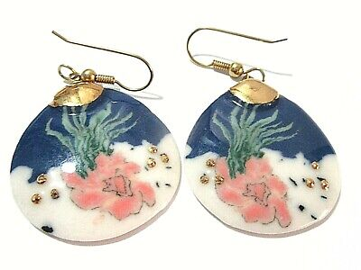 PORCELAIN UNDER THE SEA BLUE WHITE PINK GREEN DESIGN PIERCED EARRINGS