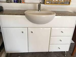 White 2 pac and granite bathroom cabinet / vanity Carrara Gold Coast City Preview