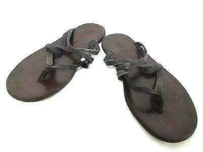 Auth LOUIS VUITTON DarkBrown Leather Sandals Men