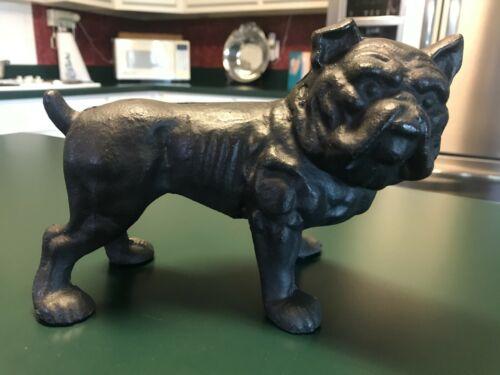 Vintage Cast Iron Black Bulldog Figure Door Stop