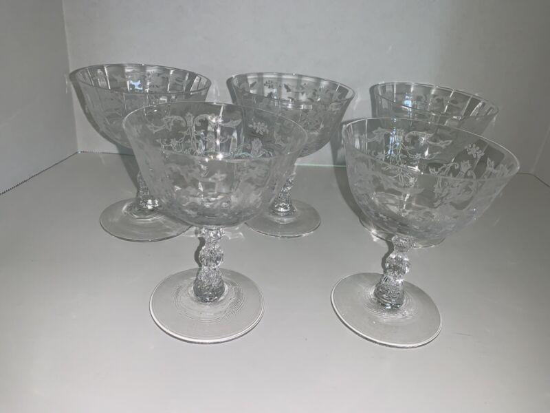 5  Fostoria Navarre Champagne Sherbet Glasses Vintage Etched Glass