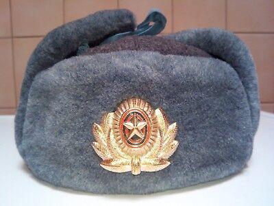 ☆ ORIGINAL CCCP SCHAPKA  SOWJETARMEE  Ushanka RUSSISCHE Wintermütze Größe 56