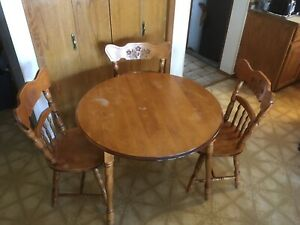 Solid wood table and chairs for sale