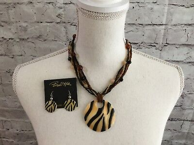 Birch Hill Beaded Animal Print Shell Pendant 9 Strand Necklace and Earring Set