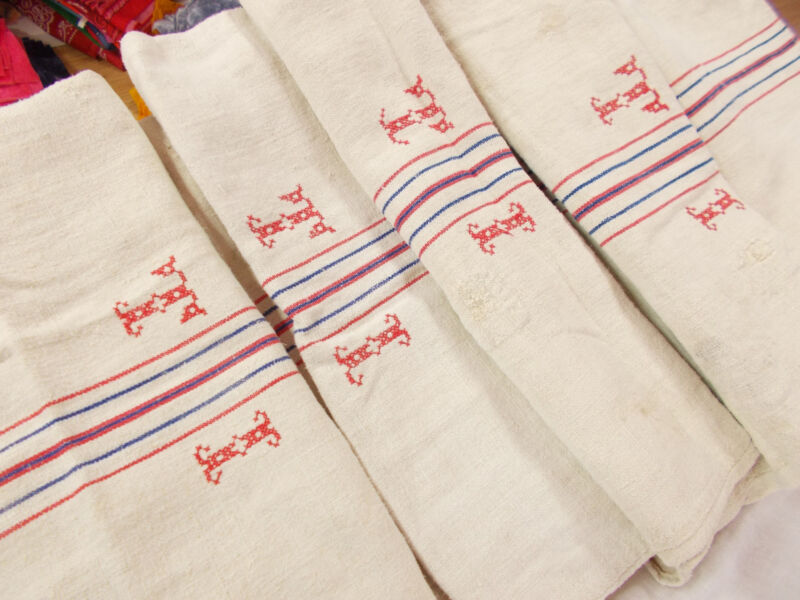 2 pair 4 Vtg Antique MONOGRAM RED BLUE STRIPE HEMP LINEN FEED SACK GRAIN BAG