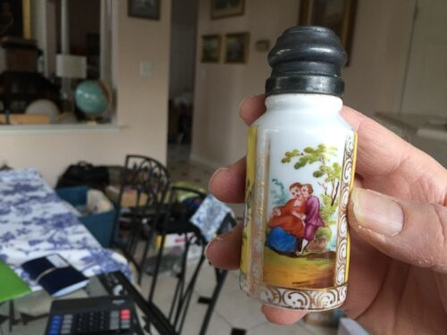 antique Victorian Dresden porcelain hand painted salt shaker Romantic scenes