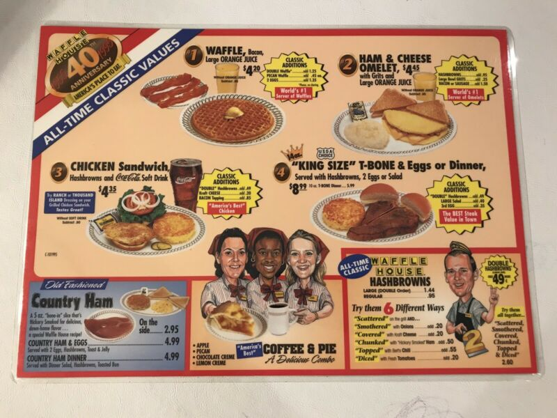 *RARE* Vintage 1995 WAFFLE HOUSE Menu Placemat Laminated 40th Anniv. Caricatures