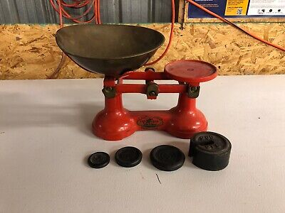 """VINTAGE ENGLISH KITCHEN SCALES Red """"THE VIKING"""" BRASS METRIC CHURN WEIGHTS"""