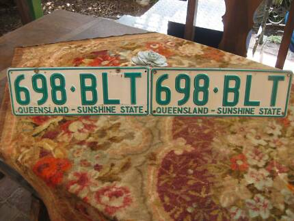 Pair Retro Car Number Plates(QLD)Sunshine State -Collectors Only
