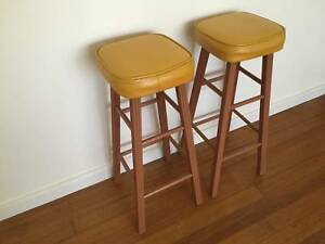 Vintage Retro Yellow Kitchen Bar Stools