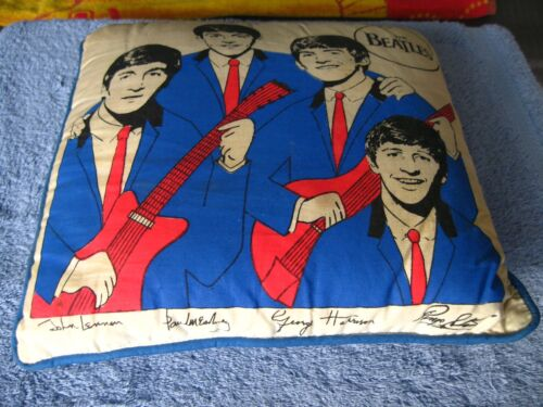 1964 Beatles Original Pillow 12 x 12 Rare W/Red Guitars Blue Back Seltab Nordic