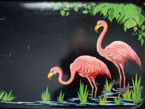PINK FLAMINGO METAL SERVING TRAY