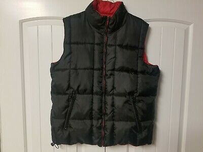 D'nalloh Silver Rider Mens XL  Black Red Reversible Down Feather Puffer Vest Rider Down Vest
