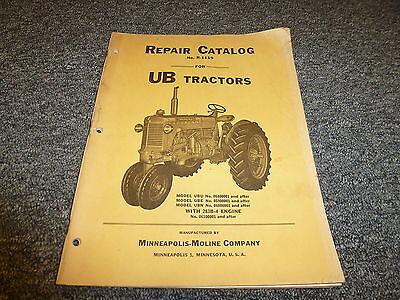 Minneapolis Moline Ubu Ube Ubn Row Crop Tractor Parts Catalog Manual Book R1119