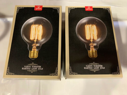 New 2 Set Globe Vintage Dimmable Clear G30 60W Squirrel Cage