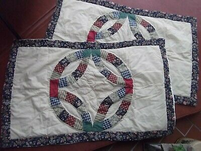 lot 2 patchwork pair set king pillow sham cotton Kohls Home Classic 20x36 MINT