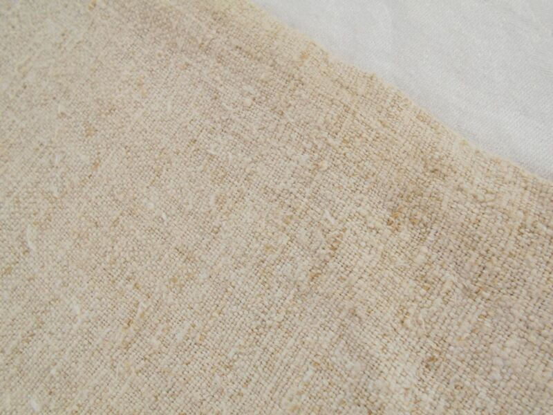 Vtg Antique PLAIN NUBBY HEMP LINEN UPHOLSTERY Fabric FEED SACK GRAIN BAG 19X56