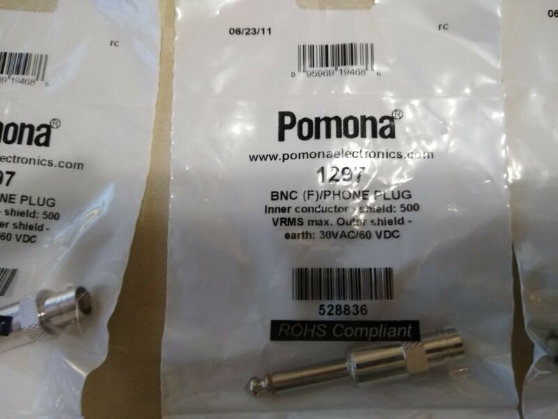Pomona 5319 Connector Adaptor, BNC Coaxial, 1, Jack, RCA / Phono, 1, Plug