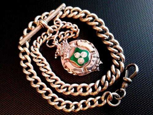 Sterling Silver Albert pocket watch chain+ Enamel Fob. 55+ grams, 13+3 3/4 inch