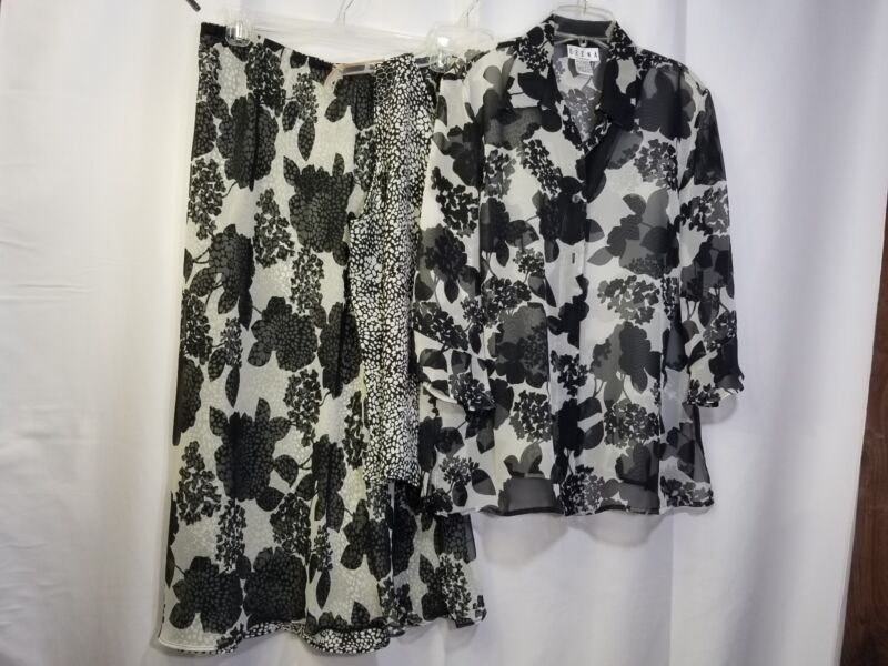 Womens 1x Erena Skirt, Blouse & Cami Set Black White Floral Outfit Sheer
