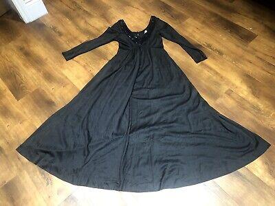 True Vintage 80s Plain Black Steampunk Goth Evening Sequin Party Maxi Dress 14