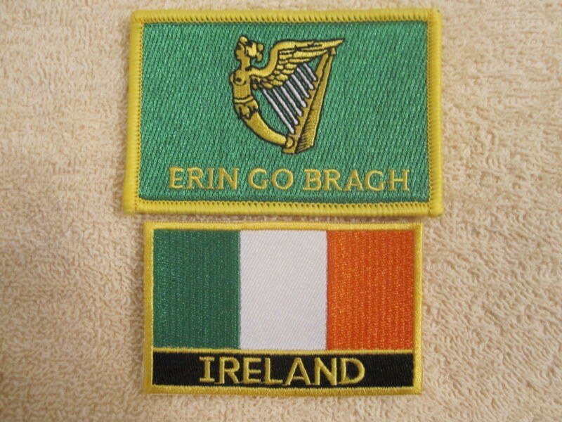 """2 Pc Set St Pats Ireland Tri/Color & """"ERIN GO BRAGH""""  2Pc Embroidered Patches"""