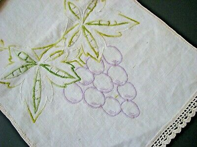 """VINTAGE EMBROIDERED NATURAL LINEN GRAPE STITCHED RUNNER 38"""" X 11"""""""