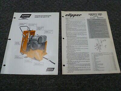 Norton Clipper C141 C101 Concrete Saw Parts Catalog Owner Operator Manual